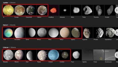 Moons of Jupiter, Saturn and Uranus